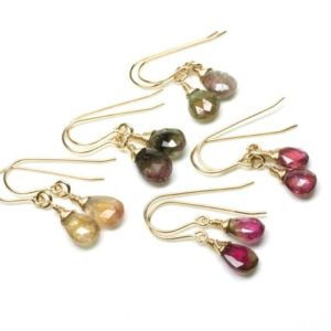 Shop Tourmaline Earrings! Multi Tourmaline Earrings Gold Filled wire wrapped green pink yellow gemstones simple dainty dangle drops October birthstone gift her 6064 | Natural genuine Tourmaline earrings. Buy crystal jewelry, handmade handcrafted artisan jewelry for women.  Unique handmade gift ideas. #jewelry #beadedearrings #beadedjewelry #gift #shopping #handmadejewelry #fashion #style #product #earrings #affiliate #ad
