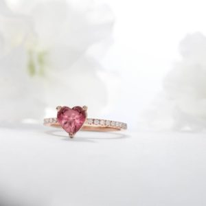 Shop Tourmaline Rings! Deep Pink Heart Tourmaline Ring | Natural genuine Tourmaline rings, simple unique handcrafted gemstone rings. #rings #jewelry #shopping #gift #handmade #fashion #style #affiliate #ad