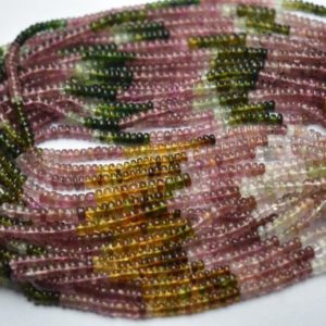 Shop Tourmaline Rondelle Beads! 13 Inch strand,AAA Quality,Natural Multi Tourmaline Smooth Rondelles. 3.5-4mm | Natural genuine rondelle Tourmaline beads for beading and jewelry making.  #jewelry #beads #beadedjewelry #diyjewelry #jewelrymaking #beadstore #beading #affiliate #ad