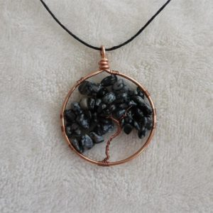 Shop Snowflake Obsidian Necklaces! Tree of life pendant, Snowflake obsidian necklace, copper black necklace, women jewelry, balancing gift, black white gemstone | Natural genuine Snowflake Obsidian necklaces. Buy crystal jewelry, handmade handcrafted artisan jewelry for women.  Unique handmade gift ideas. #jewelry #beadednecklaces #beadedjewelry #gift #shopping #handmadejewelry #fashion #style #product #necklaces #affiliate #ad