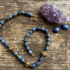 Shop Dumortierite Necklaces! Tribal Queen Necklace~Dumortierite Necklace~Blue Sponge Coral Necklace~Wise Woman's Necklace-Handmade-Ethnic-Old World | Natural genuine Dumortierite necklaces. Buy crystal jewelry, handmade handcrafted artisan jewelry for women.  Unique handmade gift ideas. #jewelry #beadednecklaces #beadedjewelry #gift #shopping #handmadejewelry #fashion #style #product #necklaces #affiliate #ad