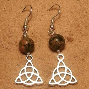 Shop Unakite Earrings! Triquetra earrings, Unakite earrings,Jasper Earrings, healing earrings, Celtic earrings | Natural genuine Unakite earrings. Buy crystal jewelry, handmade handcrafted artisan jewelry for women.  Unique handmade gift ideas. #jewelry #beadedearrings #beadedjewelry #gift #shopping #handmadejewelry #fashion #style #product #earrings #affiliate #ad