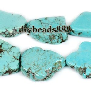Shop Turquoise Chip & Nugget Beads! Turquoise,15 inch full strand Blue turquoise smooth slab slice beads,nugget beads,tusk beads,stick beads,irregular beads,size for Choice | Natural genuine chip Turquoise beads for beading and jewelry making.  #jewelry #beads #beadedjewelry #diyjewelry #jewelrymaking #beadstore #beading #affiliate #ad