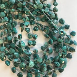 Shop Turquoise Faceted Beads! 100% Natural Turquoise 8x8x3mm Faceted Flat Teardrop Gemstone Beads-~ -15.5''–#65 | Natural genuine faceted Turquoise beads for beading and jewelry making.  #jewelry #beads #beadedjewelry #diyjewelry #jewelrymaking #beadstore #beading #affiliate #ad