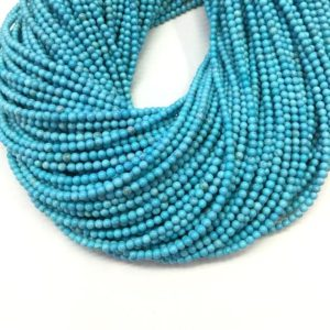 Shop Turquoise Round Beads! Blue Turquoise Beads 2mm 3mm Tiny Turquoise Smooth Round Beads Small Blue Gemstone Spacer Beads December Birthstone Jewelry Supplies | Natural genuine round Turquoise beads for beading and jewelry making.  #jewelry #beads #beadedjewelry #diyjewelry #jewelrymaking #beadstore #beading #affiliate #ad