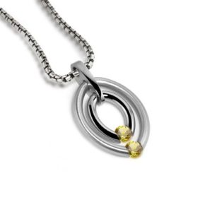 Shop Yellow Sapphire Pendants! Two Yellow Sapphire Tension Set Double Gemstone Pendant in stainless steel by Taormina Jewelry | Natural genuine Yellow Sapphire pendants. Buy crystal jewelry, handmade handcrafted artisan jewelry for women.  Unique handmade gift ideas. #jewelry #beadedpendants #beadedjewelry #gift #shopping #handmadejewelry #fashion #style #product #pendants #affiliate #ad