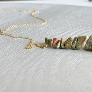 Shop Unakite Necklaces! UNAKITE JASPER NECKLACE – Natural Crystal Necklace – Unakite Necklace Gold – Spirituality Necklace – Gift for Her – Crystal Healing Necklace | Natural genuine Unakite necklaces. Buy crystal jewelry, handmade handcrafted artisan jewelry for women.  Unique handmade gift ideas. #jewelry #beadednecklaces #beadedjewelry #gift #shopping #handmadejewelry #fashion #style #product #necklaces #affiliate #ad
