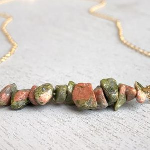 Shop Unakite Necklaces! Unakite Jasper Necklace, Raw Jasper Necklace, Metaphysical Necklace, Nature Jewelry, Rough Crystal Necklace, Crystal Healing Gift for Her | Natural genuine Unakite necklaces. Buy crystal jewelry, handmade handcrafted artisan jewelry for women.  Unique handmade gift ideas. #jewelry #beadednecklaces #beadedjewelry #gift #shopping #handmadejewelry #fashion #style #product #necklaces #affiliate #ad