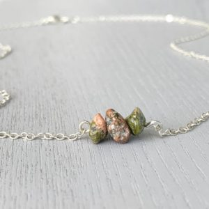 Shop Unakite Necklaces! UNAKITE NECKLACE SILVER – Unakite Stone Necklace – Jasper Necklace – Chakra Necklace – Healing Crystal Gift – Boho Necklace – Unakite Stone | Natural genuine Unakite necklaces. Buy crystal jewelry, handmade handcrafted artisan jewelry for women.  Unique handmade gift ideas. #jewelry #beadednecklaces #beadedjewelry #gift #shopping #handmadejewelry #fashion #style #product #necklaces #affiliate #ad