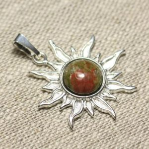 Shop Unakite Pendants! Pendant 925 sterling silver and stone – Sun 28 mm – Unakite round 10mm | Natural genuine Unakite pendants. Buy crystal jewelry, handmade handcrafted artisan jewelry for women.  Unique handmade gift ideas. #jewelry #beadedpendants #beadedjewelry #gift #shopping #handmadejewelry #fashion #style #product #pendants #affiliate #ad