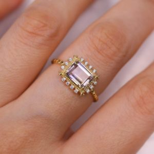 Vintage Purple Natural Ametrine Ring, 14K Yellow Gold Plated 925 Sterling Silver, Engagement Ring (Solid Gold by Request) | Natural genuine Gemstone rings, simple unique alternative gemstone engagement rings. #rings #jewelry #bridal #wedding #jewelryaccessories #engagementrings #weddingideas #affiliate #ad