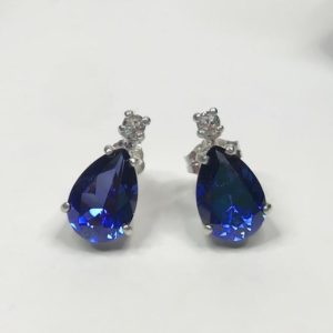 Beautiful 14k Gold 5ct Pear Cut Sapphire Earrings Blue & White Sapphire Post Bridal Jewelry Gift Mother Wife Daughter Teardrop Sapphire Ear | Natural genuine Gemstone earrings. Buy handcrafted artisan wedding jewelry.  Unique handmade bridal jewelry gift ideas. #jewelry #beadedearrings #gift #crystaljewelry #shopping #handmadejewelry #wedding #bridal #earrings #affiliate #ad