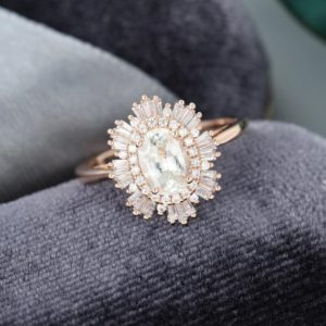 White Sapphire engagement ring rose gold Halo Diamond /CZ Vintage engagement ring Unique art deco Oval cut baguette Antique gift for women | Natural genuine Gemstone rings, simple unique alternative gemstone engagement rings. #rings #jewelry #bridal #wedding #jewelryaccessories #engagementrings #weddingideas #affiliate #ad