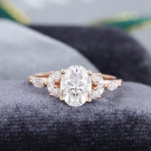 Oval white sapphire engagement ring Rose gold Unique diamond Cluster engagement ring vintage Marquise Antique Bridal anniversary gift | Natural genuine Gemstone rings, simple unique alternative gemstone engagement rings. #rings #jewelry #bridal #wedding #jewelryaccessories #engagementrings #weddingideas #affiliate #ad