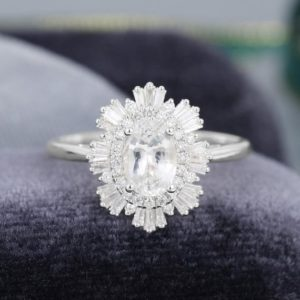 White sapphire Vintage engagement ring White gold Halo Diamond /CZ ring Unique art deco Oval cut baguette ring Bridal gift for women | Natural genuine Gemstone rings, simple unique alternative gemstone engagement rings. #rings #jewelry #bridal #wedding #jewelryaccessories #engagementrings #weddingideas #affiliate #ad
