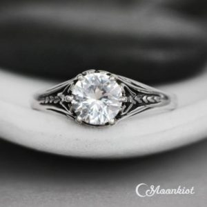 Vintage Style White Sapphire Engagement Ring, Sterling Silver Art Deco Wedding Ring, Filigree Engagement Ring | Moonkist Designs | Natural genuine Gemstone rings, simple unique alternative gemstone engagement rings. #rings #jewelry #bridal #wedding #jewelryaccessories #engagementrings #weddingideas #affiliate #ad