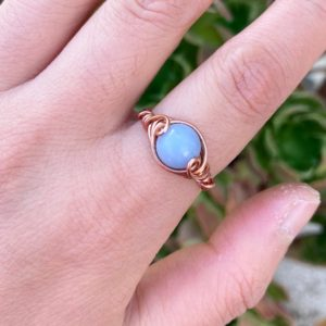 Wire Wrapped Blue Angelite Ring, copper wire, stone, womens, gift, reiki healing Crystal jewelry | Natural genuine Angelite rings, simple unique handcrafted gemstone rings. #rings #jewelry #shopping #gift #handmade #fashion #style #affiliate #ad