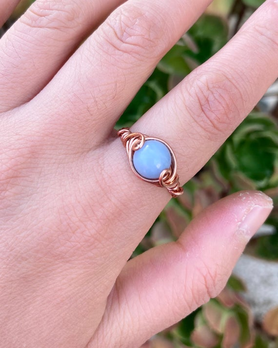 Wire Wrapped Blue Angelite Ring, Copper Wire, Stone, Womens, Gift, Reiki Healing Crystal Jewelry