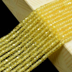 Shop Yellow Sapphire Beads! Yellow Sapphire 3mm Faceted Rondelle Beads,Natural Micro Yellow Sapphire Cubic Zircon Faceted Rondelle Beads/Yellow Sapphire Cubic Zirconia | Natural genuine rondelle Yellow Sapphire beads for beading and jewelry making.  #jewelry #beads #beadedjewelry #diyjewelry #jewelrymaking #beadstore #beading #affiliate #ad