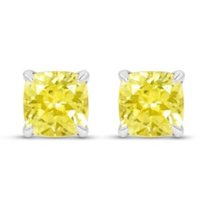 Shop Yellow Sapphire Earrings! Yellow Sapphire Cushion Cut Stud Earrings – 2 Carat Yellow Diamond Alternative Studs | Natural genuine Yellow Sapphire earrings. Buy crystal jewelry, handmade handcrafted artisan jewelry for women.  Unique handmade gift ideas. #jewelry #beadedearrings #beadedjewelry #gift #shopping #handmadejewelry #fashion #style #product #earrings #affiliate #ad