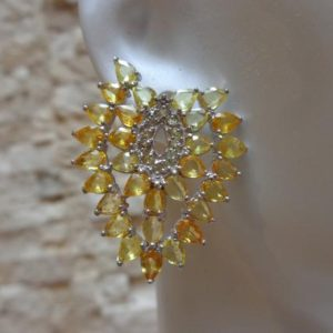 Shop Yellow Sapphire Earrings! Yellow Sapphire Earrings in 14K White Gold Vermeil | Natural genuine Yellow Sapphire earrings. Buy crystal jewelry, handmade handcrafted artisan jewelry for women.  Unique handmade gift ideas. #jewelry #beadedearrings #beadedjewelry #gift #shopping #handmadejewelry #fashion #style #product #earrings #affiliate #ad