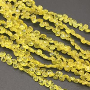 Yellow Sapphire Faceted Pear / Drops 8inch length 1strand 37carats size- 4 x 4 to 7 x7  MM gemstone for jewels | Natural genuine beads Array beads for beading and jewelry making.  #jewelry #beads #beadedjewelry #diyjewelry #jewelrymaking #beadstore #beading #affiliate #ad