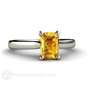 Yellow Sapphire Ring Sapphire Engagement Ring Emerald Cut Solitaire in 14K or 18K Gold Yellow Gemstone Ring | Natural genuine Array rings, simple unique alternative gemstone engagement rings. #rings #jewelry #bridal #wedding #jewelryaccessories #engagementrings #weddingideas #affiliate #ad