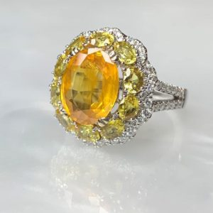Yellow Sapphire 18k Ring, Yellow Sapphire Ring For Women, Yellow Sapphire Engagement Ring, Gemstone Engagement Ring, Sapphire Cocktail Ring | Natural genuine Array rings, simple unique alternative gemstone engagement rings. #rings #jewelry #bridal #wedding #jewelryaccessories #engagementrings #weddingideas #affiliate #ad