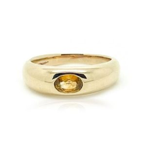 Shop Yellow Sapphire Rings! Yellow Sapphire Ring, Gold Dome Ring, Heavy Gold Ring, Stacking Ring   Natural genuine Yellow Sapphire rings, simple unique handcrafted gemstone rings. #rings #jewelry #shopping #gift #handmade #fashion #style #affiliate #ad
