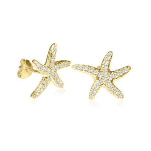 Starfish Earrings, Gold Earrings, Starfish Jewelry, Zircon Earrings, Starfish Studs, Stud Earrings, Bridesmaid Earrings, Nautical Earrings | Natural genuine Gemstone earrings. Buy crystal jewelry, handmade handcrafted artisan jewelry for women.  Unique handmade gift ideas. #jewelry #beadedearrings #beadedjewelry #gift #shopping #handmadejewelry #fashion #style #product #earrings #affiliate #ad