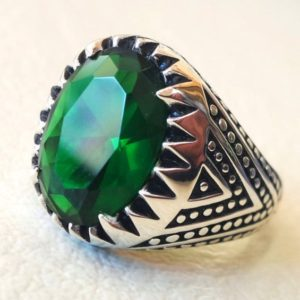 Shop Zircon Rings! Emerald Green Zircon Vintage Men Emboss Ring Punk Style Party Band Gift,Gift For father,Men's Ring,Birthday gift,Vintage ring   Natural genuine Zircon rings, simple unique handcrafted gemstone rings. #rings #jewelry #shopping #gift #handmade #fashion #style #affiliate #ad