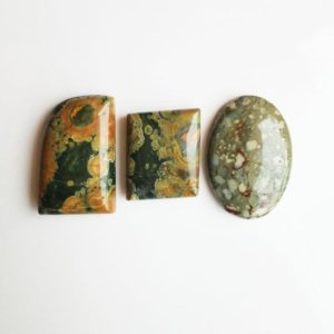 Shop Rainforest Jasper Stones & Crystals! 03 Pieces Rainforest Jasper Stones #Rainforest Rhyolite Cabochon Healing Crystals Gemstones #AAA Rainforest Rhyolite Jasper Jewelry Stones. | Natural genuine stones & crystals in various shapes & sizes. Buy raw cut, tumbled, or polished gemstones for making jewelry or crystal healing energy vibration raising reiki stones. #crystals #gemstones #crystalhealing #crystalsandgemstones #energyhealing #affiliate #ad