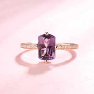 1.9ct Natural Amethyst Engagement Ring, Saddle Shaped Natural Purple Gemstone Wedding Ring, Birthstone, Anniversary Ring Gift, 18k Rose Gold | Natural genuine Gemstone rings, simple unique alternative gemstone engagement rings. #rings #jewelry #bridal #wedding #jewelryaccessories #engagementrings #weddingideas #affiliate #ad