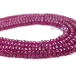 Shop Ruby Rondelle Beads! 10 Inches Smooth Ruby Rondelle Beads Natural Ruby Gemstone Beads Size 3 To 4 mm Top Quality | Natural genuine rondelle Ruby beads for beading and jewelry making.  #jewelry #beads #beadedjewelry #diyjewelry #jewelrymaking #beadstore #beading #affiliate #ad