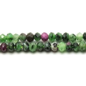 Shop Ruby Zoisite Faceted Beads! 10pc – Pearl Ruby Zoisite faceted Rondelle 3.5 x 2.5 mm 4558550024022 | Natural genuine faceted Ruby Zoisite beads for beading and jewelry making.  #jewelry #beads #beadedjewelry #diyjewelry #jewelrymaking #beadstore #beading #affiliate #ad