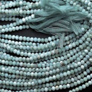 """Shop Larimar Rondelle Beads! 12.5"""" inch AAA quality LARIMAR mircro faceted rondelle loose gemstone beads 2mm-3mm beaded jewelry 
