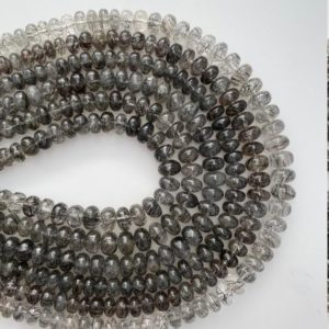 Shop Rutilated Quartz Rondelle Beads! 14 inches Long, 1 Strand of Natural, Plain/Smooth, Rutile/Rutilated Quartz Rondelle Beads, 100% Natural, Genuine Rutilated Quartz #ruti2 | Natural genuine rondelle Rutilated Quartz beads for beading and jewelry making.  #jewelry #beads #beadedjewelry #diyjewelry #jewelrymaking #beadstore #beading #affiliate #ad
