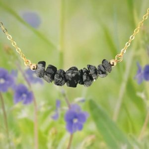 Shop Snowflake Obsidian Necklaces! 14 K Gold Filled Raw Snowflake Obsidian  Necklace, Genuine Cristobalite Lava Gemstone, Healing Crystals Chakra Jewelry, Bar necklace | Natural genuine Snowflake Obsidian necklaces. Buy crystal jewelry, handmade handcrafted artisan jewelry for women.  Unique handmade gift ideas. #jewelry #beadednecklaces #beadedjewelry #gift #shopping #handmadejewelry #fashion #style #product #necklaces #affiliate #ad