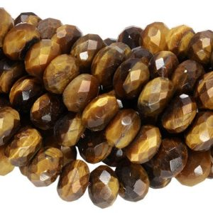 Shop Tiger Eye Rondelle Beads! 15 IN Strand 10 mm Tiger Eye Rondelle Faceted Gemstone Beads (TGERLF0010) | Natural genuine rondelle Tiger Eye beads for beading and jewelry making.  #jewelry #beads #beadedjewelry #diyjewelry #jewelrymaking #beadstore #beading #affiliate #ad