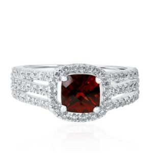 2.14Ct Red Garnet Halo Diamond Ring 14k White Gold, Cushion Garnet Engagement Ring January Birthstone | Natural genuine Array rings, simple unique alternative gemstone engagement rings. #rings #jewelry #bridal #wedding #jewelryaccessories #engagementrings #weddingideas #affiliate #ad