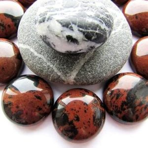 Shop Mahogany Obsidian Cabochons! 2pcs Natural Mahogany Obsidian Cabochons 16mm Brown Black Stone Cabochon Natural Round Mahogany Obsidian Gemstone Flat back Craft Supplies | Natural genuine stones & crystals in various shapes & sizes. Buy raw cut, tumbled, or polished gemstones for making jewelry or crystal healing energy vibration raising reiki stones. #crystals #gemstones #crystalhealing #crystalsandgemstones #energyhealing #affiliate #ad