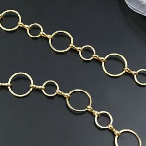 Shop Chain for Jewelry Making! 3.3feet / 1m 12mm+8mm Bronze / Gold / White Gold Circle Links Chain, Brass Designer Chain, Decorative Chains, Necklace Chain, Jewelry Chain | Shop jewelry making and beading supplies, tools & findings for DIY jewelry making and crafts. #jewelrymaking #diyjewelry #jewelrycrafts #jewelrysupplies #beading #affiliate #ad