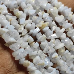 """Shop Blue Lace Agate Chip & Nugget Beads! 34""""Strand Natural Blue Lace Agate Raw Uncut Chips Beads Gemstone, Blue Lace Agate Chips Raw Gemstone Beads, Blue Lace Rough Polish Beads 