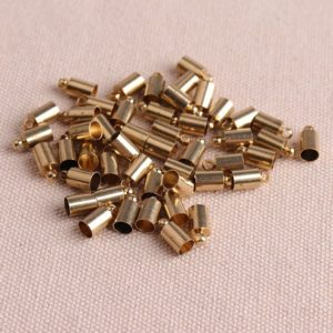 50pcs 4mm Inner size end cap gold caps for leather chain,cord ends caps - beading chain end cap