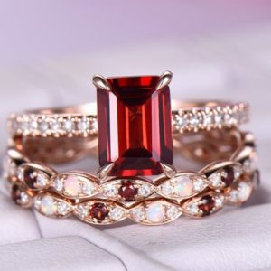 6x8mm Emerald Cut Garnet Engagement Ring/14k rose gold/Half eternity Ring/Opal wedding ring/Emerald cut red birthstone/ball prongs/Marquise | Natural genuine Array rings, simple unique alternative gemstone engagement rings. #rings #jewelry #bridal #wedding #jewelryaccessories #engagementrings #weddingideas #affiliate #ad