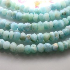 """Shop Larimar Faceted Beads! 7"""" Strand, Larimar faceted Rondelle Beads, 3-4mm, B-0168 