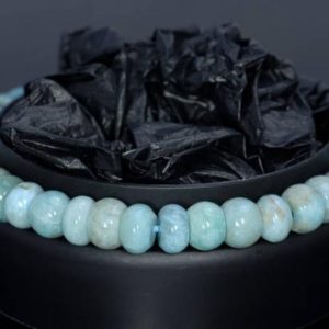 Shop Larimar Rondelle Beads! 7mm Dominican Larimar Gemstone Grade AA Blue Rondelle Loose Beads 7.5 inch Half Strand (80004336-917) | Natural genuine rondelle Larimar beads for beading and jewelry making.  #jewelry #beads #beadedjewelry #diyjewelry #jewelrymaking #beadstore #beading #affiliate #ad