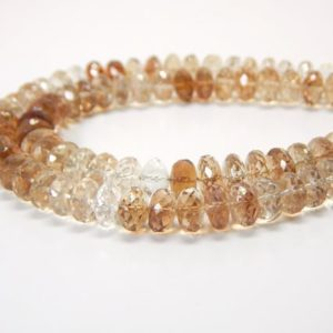 Shop Topaz Rondelle Beads! 10 Inches Faceted Imperial Topaz Rondelle Beads Natural Imperial Topaz Gemstone Beads Size 6 To 7 mm Top Quality | Natural genuine rondelle Topaz beads for beading and jewelry making.  #jewelry #beads #beadedjewelry #diyjewelry #jewelrymaking #beadstore #beading #affiliate #ad
