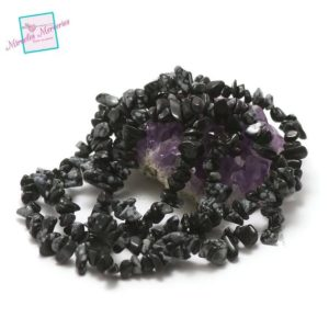 """Shop Snowflake Obsidian Chip & Nugget Beads! 84 Cm Yarn About 300 Beads Of Obsidian Snowflake """"chips"""", Natural Stone 
