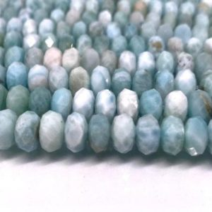 Shop Larimar Faceted Beads! 8mm Larimar Faceted Rondelle – Length 40 cm – Natural Larimar Roundel Beads- Origin Dominican Republic | Natural genuine faceted Larimar beads for beading and jewelry making.  #jewelry #beads #beadedjewelry #diyjewelry #jewelrymaking #beadstore #beading #affiliate #ad